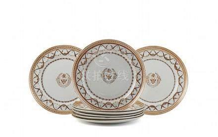 Conj. de oito pratos em porcelana chinesa CI