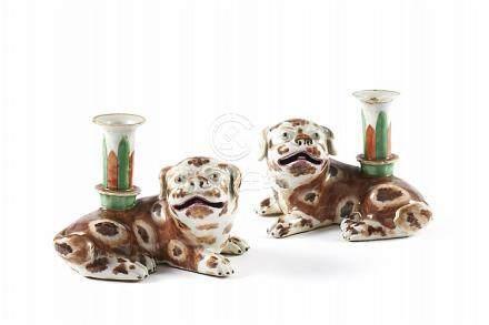 Par de castiçais em porcelana CI (2)