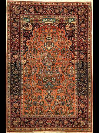 Kashan Rug, Persia, c. 1940, wool/cotton, approx. 200