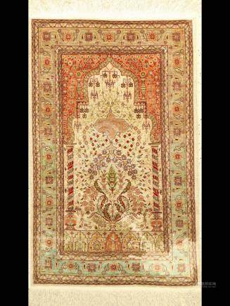 Hereke silk Rug, Turkey, 40 years, natural silk