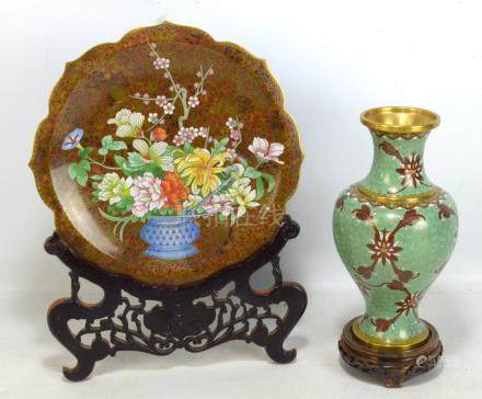 A modern Chinese cloisonné enamel baluster vase with waisted rim, height 26.5cm, on carved wooden