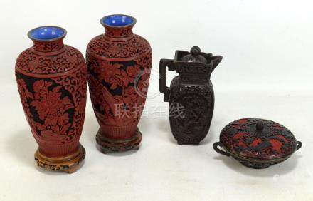 A pair of modern Chinese imitation cinnabar lacquer vases, height 21cm excluding stand, a similar