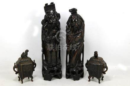 A pair of Chinese hardwood carvings of scholars, each approx 40cm, and a pair of miniature