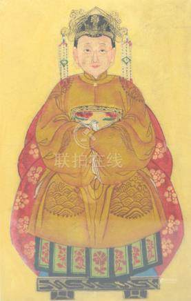 20TH CHINESE SCHOOL; tempera on canvas, portrait study of a woman wearing elaborate head dress, 34 x