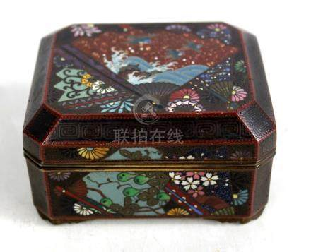 An early 20th century Japanese cloisonné enamel rectangular trinket box with canted corners,