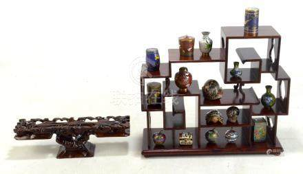 A small collection of various cloisonné enamel miniatures to include a ginger jar, vases and a
