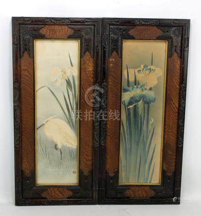 Two early 20th century Japanese watercolours, one depicting an egret, the other depicting flowers,