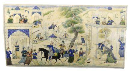 A circa 1900 Mughal school gouache on rectangular ivory panel depicting figural court scenes in