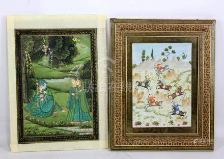 A 20th century Indian Mughal type gouache depicting figures in a garden, 27 x 19cm, unframed but