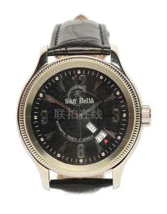 SAN BELLA 鋼自動上鏈皮帶腕錶