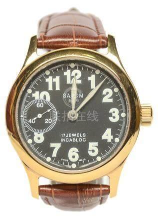 瑞士 SACOM 沙琴 鍍金手動上鏈皮帶腕錶