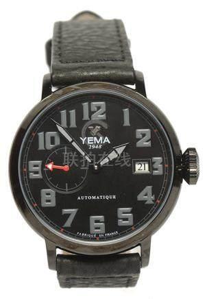 法國 YEMA 鋼自動上鏈皮帶腕錶 (原裝扣)