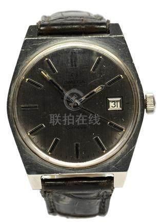 瑞士 OMEGA 奧米加 鋼自動上鏈皮帶腕錶