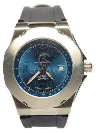 TECHNOMARINE 鐵克龍 鋼石英塑膠帶腕錶 (原裝扣)