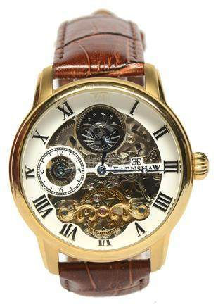 瑞士 EARNSHAW 鋼鍍金自動上鏈皮帶腕錶 (原裝扣)