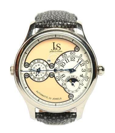 JOSHUA & SONS 鋼自動上鏈皮帶腕錶 (原裝扣)