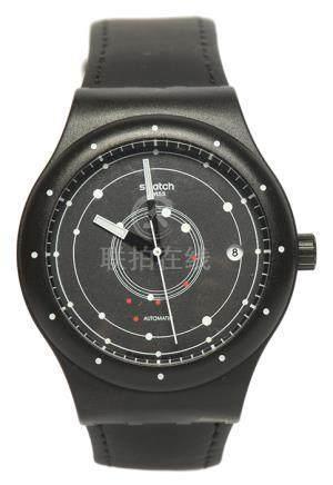 瑞士 SWATCH 時間廊自動上鏈皮帶腕錶 (原裝扣)
