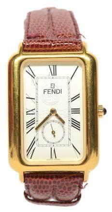 瑞士 FENDI 鍍金石英皮帶腕錶 (原裝扣)