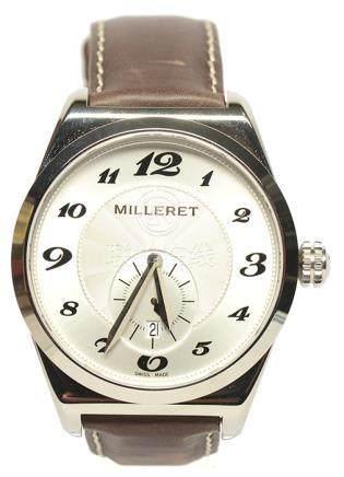 瑞士 MILLERET 鋼石英皮帶腕錶