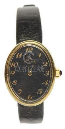 瑞士 MILUS 美力時鍍金手動上鏈皮帶腕錶