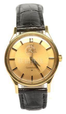 OMEGA 18K黃金自動上鏈天文臺皮帶腕錶