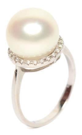 18K白金鑲南洋珍珠鑽石戒指