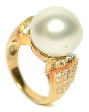 18K黃金鑲南洋珍珠鑽石戒指