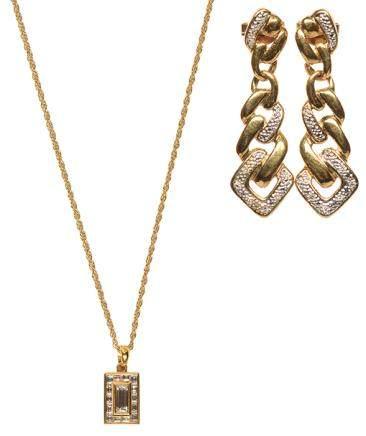 14K黃金鑲鑽石墜鏈、耳環二件