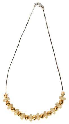 18K白金鑲白玉珠K黃金珠項鏈
