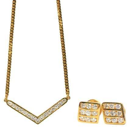 18K黃金鑲鑽石耳環、墜鏈一套二件