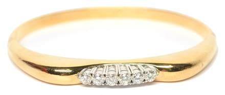 14K雙色金鑲鑽石鐲
