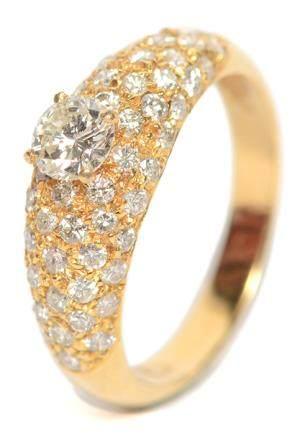 14K黃金鑲鑽石戒指