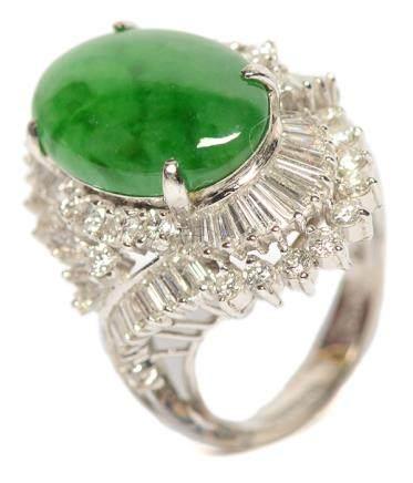 18K黃金鑲天然翡翠鑽石戒指
