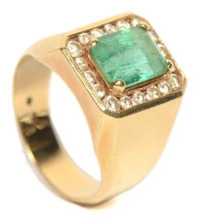 18K黃金鑲綠寶石鑽石戒指