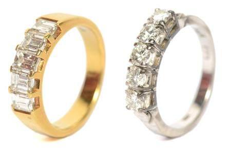 18K黃金鑲鑽石戒指 連18K白金鑲鑽石戒指(共2件)