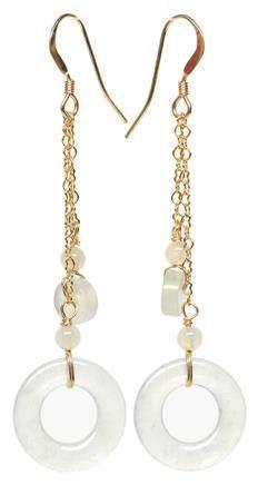 14K黃金鑲冰種天然翡翠耳環