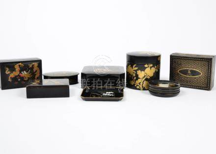 A group of Asian laquered boxes and pots, including papier mache, wooden and modern plastic
