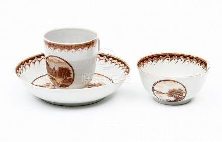 A QIANLONG TEACUP, COFFEE CUP AND SAUCER