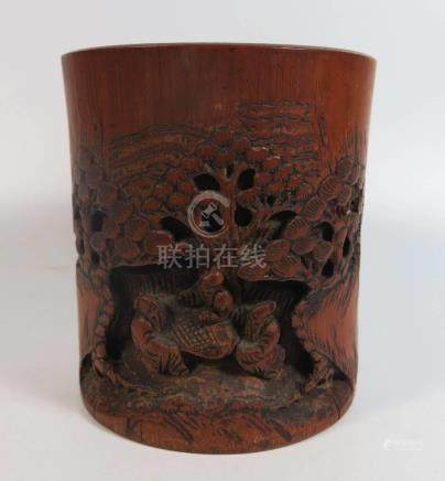 A Chinese Bamboo Brush Pot, 12cm high