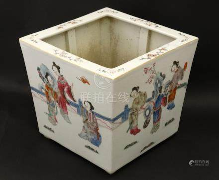A Chinese famille rose jardiniere of square form ,