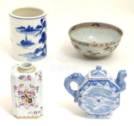 Four assorted Chinese ceramics comprising a blue underglaze brush pot with a mountainous landscape,