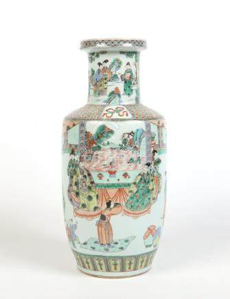 A 19th century Chinese famille verte rouleau vase. Painted with a Chinese emperor and Empress with