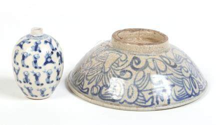 A miniature Chinese blue and white bud vase painted with children, Kangxi reign mark, along with a
