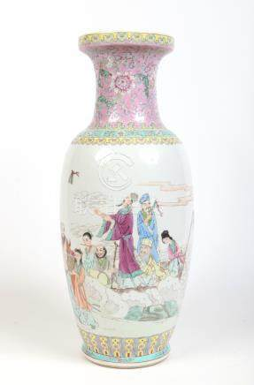 A large 20th century Chinese famille rose vase. Painted with lotus flowers and scrolls to the