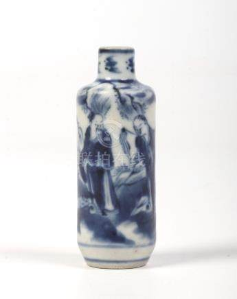A miniature Chinese blue and white cylindrical bottle vase. Painted in underglaze blue with a