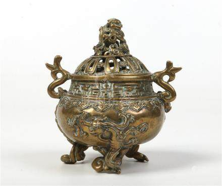 19th century Chinese bronze censor. With pierced domed cover having lion dog finial, with twin