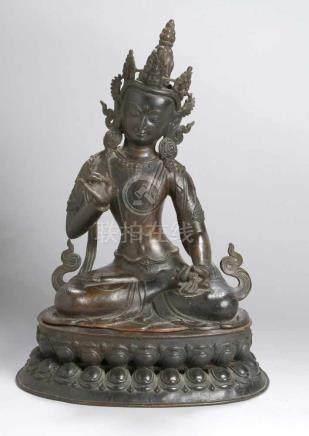 """Bronze-Plastik, """"Buddha"""", Tibet, 17./18. Jh., auf Doppellotossockel aufgesteckte,vollplastische"""