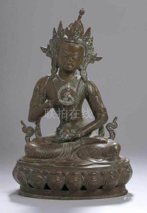 "Bronze-Plastik, ""Tara"", Tibet, 18./19. Jh., auf Lotossockel vollplastische, sitzendeDarstellung in"