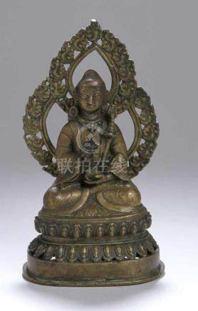 Bronze-Buddha, Tibet, wohl 18. Jh., auf Doppellotossockel vollplastische Darstellung