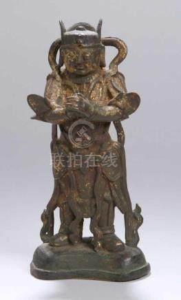"""Bronze-Plastik, """"Adorantenfigur"""", China, Ming-Dynastie, auf gewölbtem Sockelvollplastische,"""